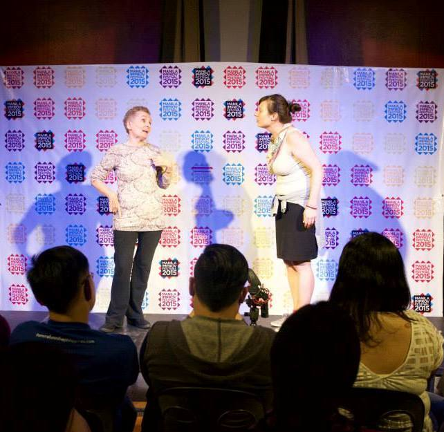 Me (left) performing with fellow Applied Improvisation Network member Joëlle Sarrailh in an improv jam at the Manila Improv Festival, July 2015 (photo by Jay Ignacio)